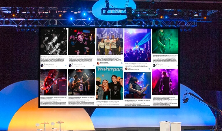 Caption: Social Wall on the stage of a live event!